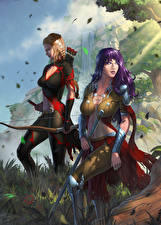 Picture Warrior Illustrations to books Archers Two Destiny Reforged Fantasy Girls
