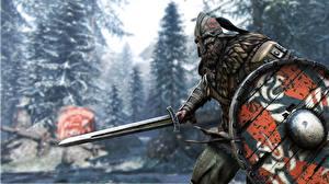 Bilder Krieger Mann For Honor Schwert Schild (Schutzwaffe) Helm Wikinger Spiele 3D-Grafik