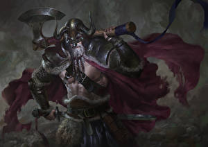 Image Warrior Man Battle axes Vikings Fantasy
