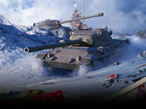 Hintergrundbilder WOT Panzer Neujahr Deutsch Russische Geschenke Schnee Spiele