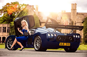 Photo Blue Metallic Blonde girl Sit Legs Gown 2015-17 Ultima Evolution Coupe Cars Girls