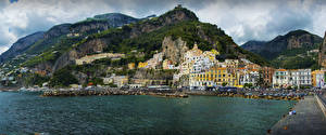 Pictures Amalfi Italy Building Mountain Coast Cities