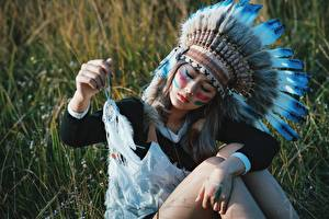 Fotos Asiatische Warbonnet Traumfänger Indianer Schön Mädchens