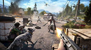 Picture Assault rifle Man Far Cry 5 Firing Street vdeo game