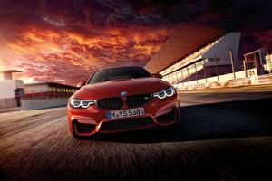 Fotos BMW Vorne Rot Fahrendes Coupe F82 Autos