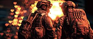 Pictures Battlefield 4 Soldiers Back view Two American vdeo game 3D_Graphics
