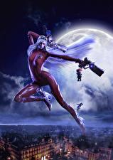 Bilder Bayonetta Pistole Nacht Mond Latex Jeanne, Bayonetta, Umbra Witch Spiele Mädchens Fantasy