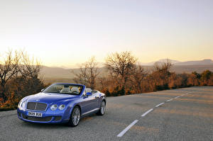 Wallpaper Bentley Roads Cabriolet Metallic Blue 2009-16 Continental GTC Speed auto