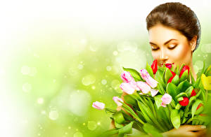 Image Bouquets Tulips Brown haired Girls