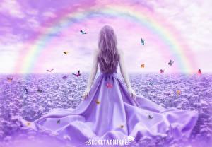 Bureaubladachtergronden Vlinder Jurk Regenboog Secretadmires Fantasy Jonge_vrouwen