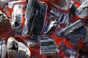 Photo Closeup Macro Bonfire Smoldering coals