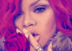 Hintergrundbilder Hautnah Rihanna Gezeichnet Gesicht Neger Blick Nase Prominente Mädchens