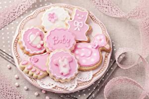 Картинка Печенье Сахарная глазурь Тарелке