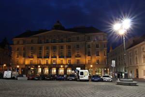 Pictures Czech Republic Building Street lights Night Street Brno Cities