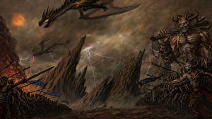 Bureaubladachtergronden Demonen Krijgers Een draak Fantasy