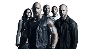 Pictures The Fate of the Furious Men Michelle Rodriguez Dwayne Johnson Jason Statham White background film Celebrities