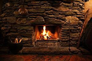 Photo Flame Fireplace Bonfire Made of stone