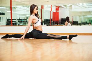 Hintergrundbilder Fitness Braunhaarige Trainieren Bein Spagat Mädchens Sport