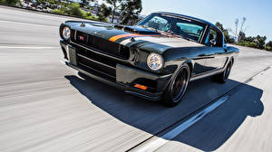 Wallpaper Ford Black Moving Mustang 1965 Ringbrothers automobile