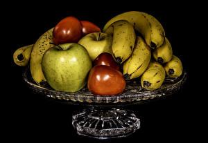Bilder Obst Bananen Äpfel Pflaume Schwarzer Hintergrund Lebensmittel