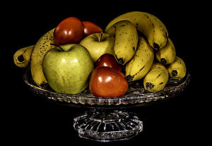 Pictures Fruit Bananas Apples Plums Black background Food