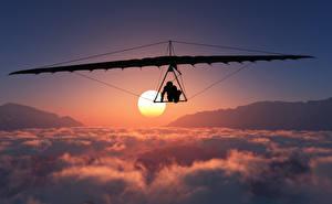 Image Flight Clouds Sun Hang gliding Sport