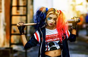Images Harley Quinn hero Costume play Baseball bat Girls