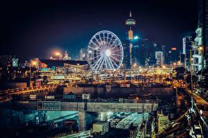 Hintergrundbilder Haus China Hongkong Riesenrad Nacht Städte