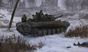 Wallpapers Infantry fighting vehicle Soldiers Winter Russian Snow