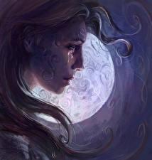 Bakgrunnsbilder Bokillustrasjoner Månen Ansikt Håret Tårer Malazan Book of the Fallen. Apsalar, Gardens of the Moon Unge_kvinner
