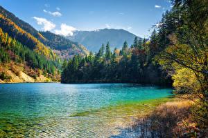 Sfondi desktop Valle del Jiuzhaigou Cina Parco Lago Montagne Foreste Paesaggio Natura