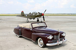 Fotos Lincoln Retro Flugzeuge Bordeauxrot Metallisch Cabriolet 1942 Continental 2-door Cabriolet automobil