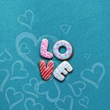 Sfondi desktop Amore Biscotti Glassa di zucchero Inglese Parole
