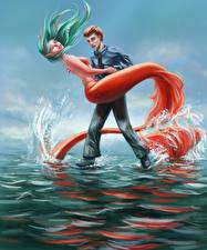 Pictures Mermaids Two Young man Tail Fantasy Girls