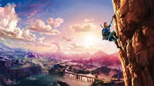 Bilder Bergsteigen Fantastische Welt The Legend of Zelda Himmel Felsen Bergsteiger Breath Of The Wild Spiele Fantasy