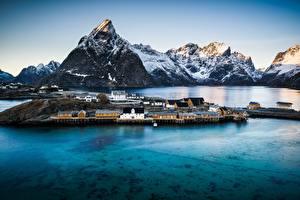 Photo Mountains Norway Houses Coast Reine, Nordland Cities Nature