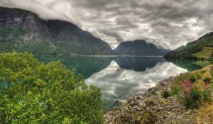 Hintergrundbilder Norwegen See Gebirge HDR Wolke lake Strynsvatnet Natur