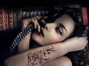 Images Painting Art Feathers Gothic Fantasy Brunette girl Tattoos Hands Face Fatal letters, The sad story of internet love Girls