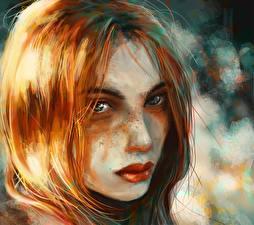 Fotos Gezeichnet Rotschopf Blick Gesicht Haar junge frau
