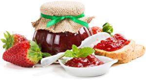 Picture Varenye Strawberry Bread White background Jar Food