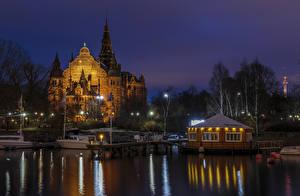 Hintergrundbilder Stockholm Schweden Gebäude Bootssteg Flusse Nacht Straßenlaterne