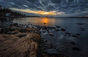 Bilder Schweden Küste Abend Steine Varmdo Natur