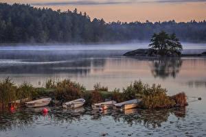 Fotos Schweden Flusse Boot Schiffsanleger Nebel Natur
