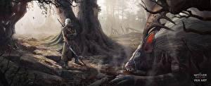 Hintergrundbilder The Witcher 3: Wild Hunt Krieger Geralt von Rivia Monsters Schwert Fantasy