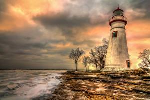 Fotos Vereinigte Staaten Küste Leuchtturm Sonnenaufgänge und Sonnenuntergänge Himmel HDRI Marblehead Lighthouse Massachusetts Natur