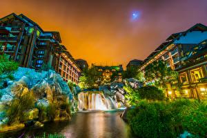 Bilder USA Park Disneyland Haus Wasserfall Abend Kalifornien Anaheim Design HDRI Felsen Städte