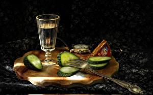 Images Vodka Cucumbers Cutting board Shot glass Fork Food