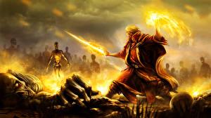Bilder Krieger Magie Untoter Magier Hexer Fantasy