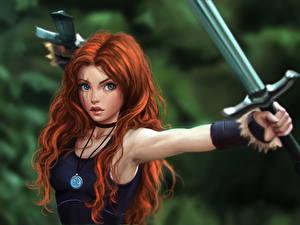 Images Warriors Redhead girl Swords Beautiful Hair Singlet Fantasy