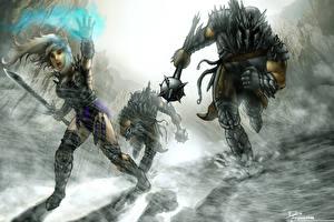 Fonds d'écran Guerrier Trois 3 Armure Fantasy Filles